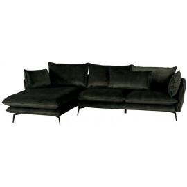 Canapé angle gauche tissus polyester kaki - Edan Casita