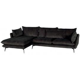 Canapé angle gauche 100% polyester gris - Eden Casita