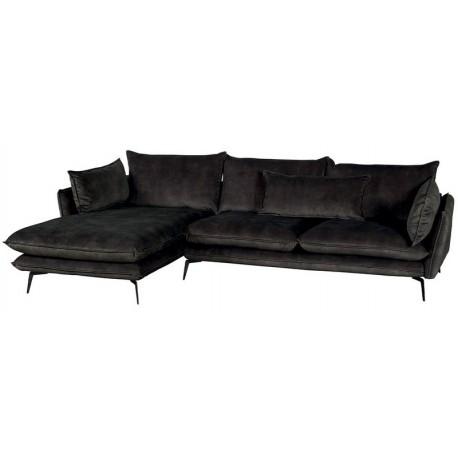 Canapé angle gauche 100% polyester gris - Edan Casita