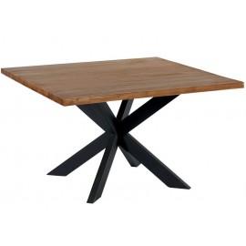 Table carrée 130 teck et pieds métal - Tulua Casita