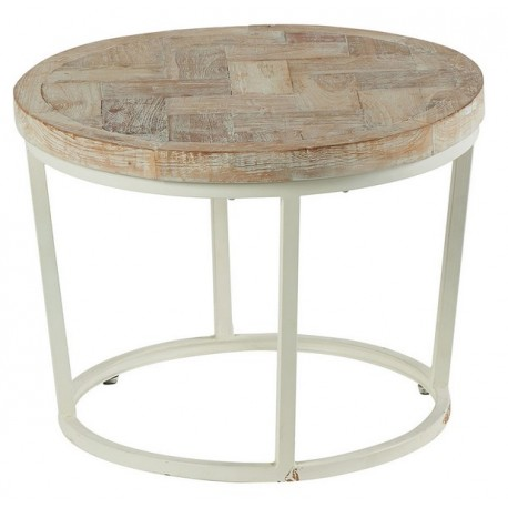 Table basse ronde teck blanchi - Amki Casita