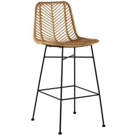 Chaise de bar rotin pieds métal - Casita