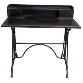 Bureau 2 tiroirs en métal noir
