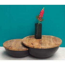 Table basse bois et métal avec rangement