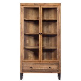 Vitrine 2 portes 1 tiroir bois recyclé - Baker