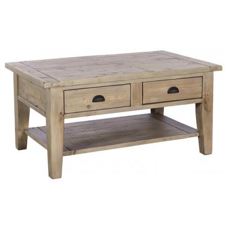 Table basse double plateau 2 tiroirs bois recyclé - Valetta