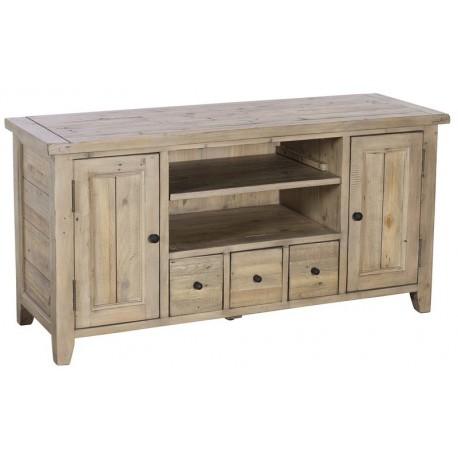 Meuble tv 2 portes 3 tiroirs bois recyclé - Valetta