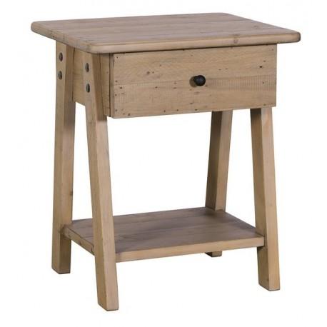 Bout de canapé 1 tiroir en bois recyclé - Valetta