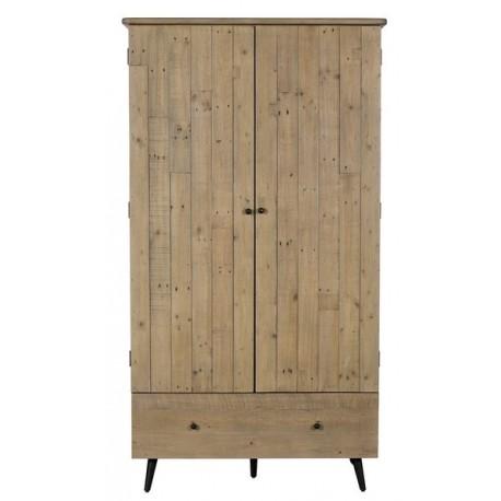Armoire penderie 1 tiroir bois recyclé - Valetta