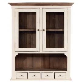 Haut vaisselier bois recyclé 2 portes vitrées - Costwold