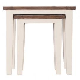 Tables gigognes blanc dessus naturel oxydé - Costwold