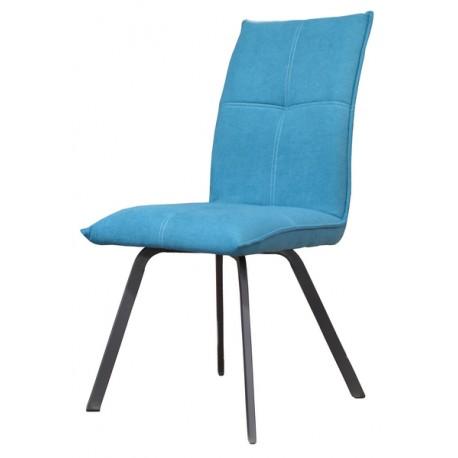 Chaise Ascot tissu turquoise pieds métal