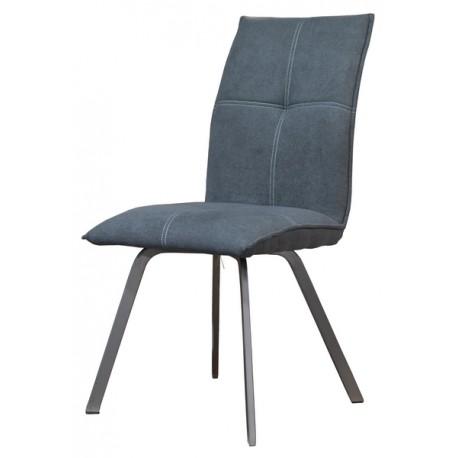 Chaise Ascot tissu gris pieds métal