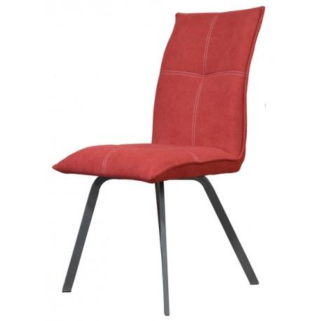 Chaise Ascot tissu rouge pieds métal