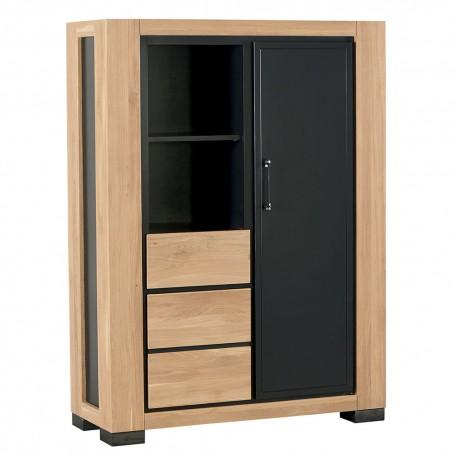 Armoire chêne 1 porte 2 tiroirs - Cleveland Casita