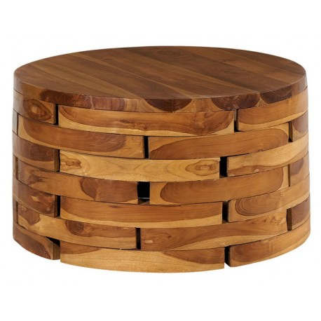 Table basse ronde teck massif - Mana Casita