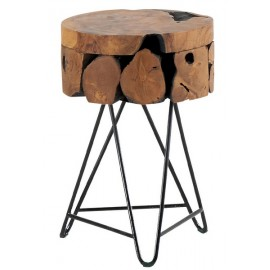 Tabouret teck massif naturel - Casita