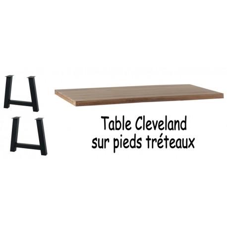 Table chêne massif pieds tréteaux - Cleveland Casita