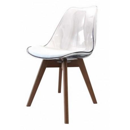 Chaise Tracy transparente pieds bois