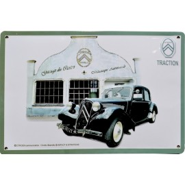Plaque métal relief 40 x 30 cm Traction Citroën