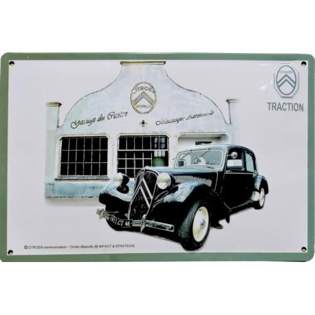 Plaque métal relief 40 x 30 cm Traction Citroën