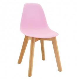 Chaise enfant rose pieds hêtre - Aubry Gaspard
