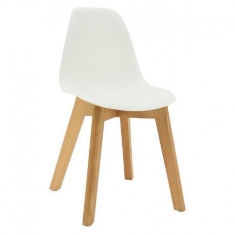 Chaise enfant blanche pieds hêtre - Aubry Gaspard