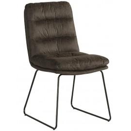 Chaise pieds fer tissu gris - Moody Casita