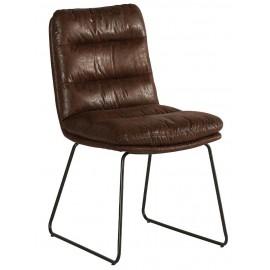 Chaise pieds fer tissu havane - Moody Casita