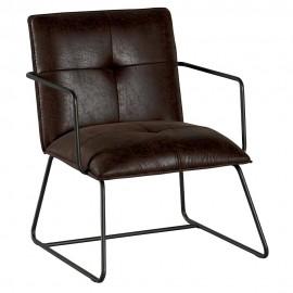 Chaise accoudoirs et pieds fer teinte havane - Moody Casita