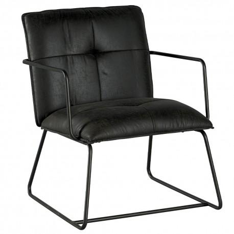 Chaise accoudoirs et pieds fer teinte grise - Moody Casita