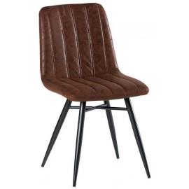 Chaise pieds fer tissu 100% polyester havane