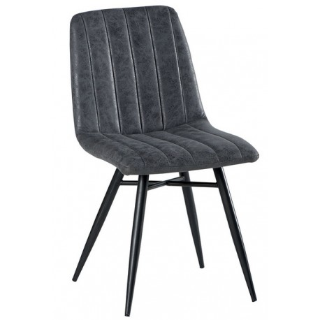 Chaise pieds fer tissu 100% polyester gris