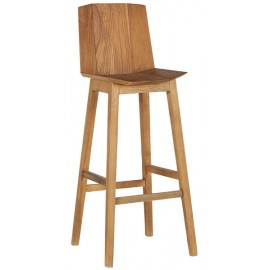 Tabouret de bar teck massif naturel - Casita