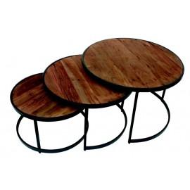 Set de 3 tables gigognes bois recyclé et métal