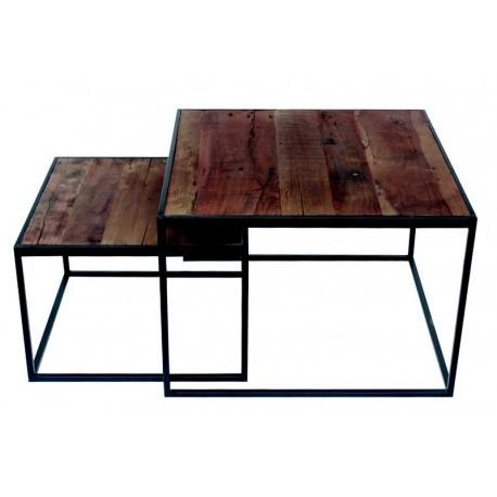 Set de 2 tables gigognes carrées bois recyclé et métal