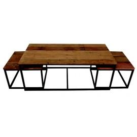 Set de 3 tables gigognes bois recyclé et méta