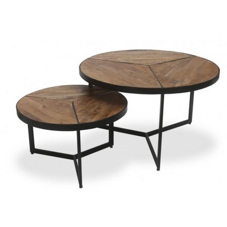 Set de 2 tables basse structure métal et bois exotique