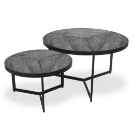 Set de 2 tables basse bois exotique sablé et métal