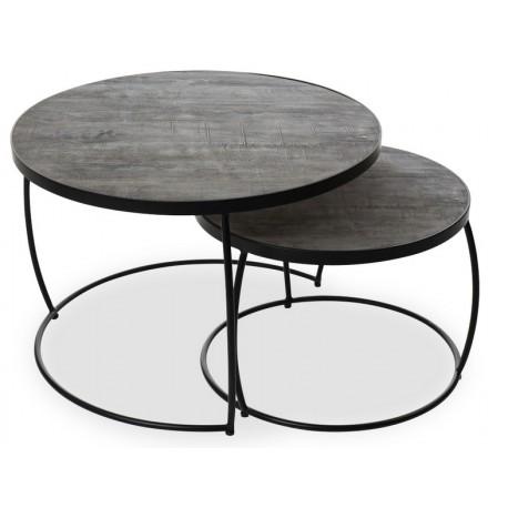 Set de 2 tables basses rondes bois exotique sablé et métal