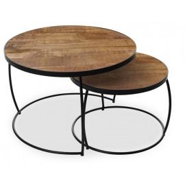 Set de 2 tables basses rondes bois exotique et métal