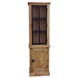 Bibliothèque 2 portes dont 1 vitrée bois massif et acier