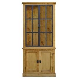 Vitrine épicéa 4 portes dont 2 en métal vitrée