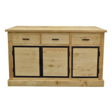 Enfilade 3 portes bois et métal + 2 tiroirs - Bois et fer