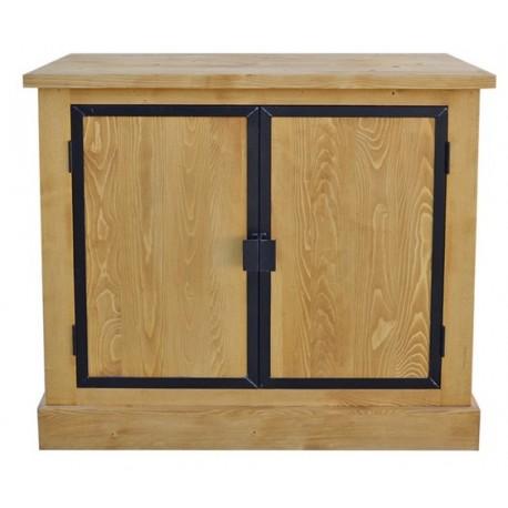 Meuble bas 2 portes bois et métal - Bois et fer