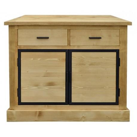 Enfilade 2 portes bois et métal + 2 tiroirs - Bois et fer