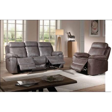 Salon relax 1 canapés 2 fauteuils tissu havane - Mississauga Casita