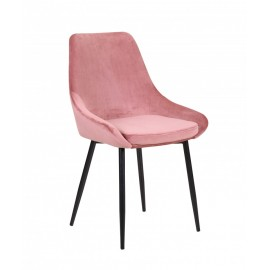 Chaise Mirano revêtement velours rose