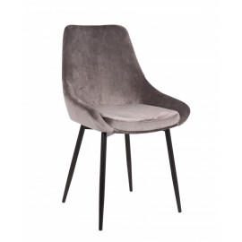 Chaise Mirano velours gris