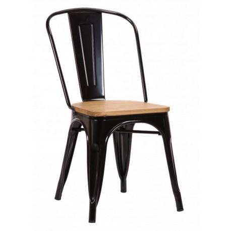 Chaise Victoria acier noir et orme clair